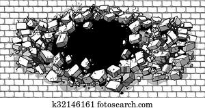 Hole Breaking Through Brick Wall