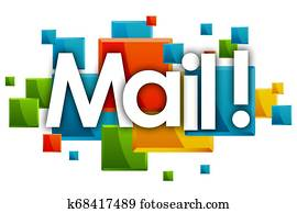 mail word in rectangles background