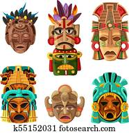 maya, maske, karikatur, satz