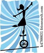 Silhouette of Woman balancing on un