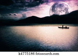Fantasy landscape - moon, lake and boat