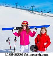 Stock Photo of Blond kid girl winter snow holding ski equipment ... 7ce3a1cafa6a