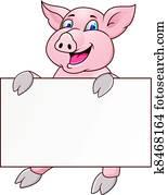 lustig, schwein, karikatur, mit, unbelegtes zeichen