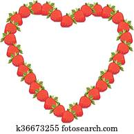 Symbol heart with strawberries