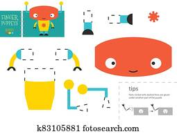 Cut and glue paper toy vector illustration. Robot character scissors cutting model