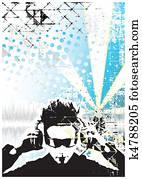DJ blue background