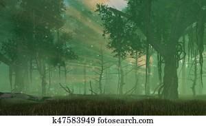 Fairy firefly lights in misty night forest