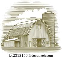 Woodcut Old Barn