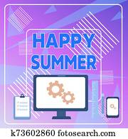 Word writing text Happy Summer. Business concept for Beaches Sunshine Relaxation Warm Sunny Season Solstice Business Concept PC Monitor Mobile Device Clipboard Ruler Ballpoint Pen.