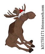Cute cartoon moose with a christmas hat