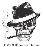 Gangster skull tattoo