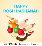Happy rosh hashanah concept background, isometric style