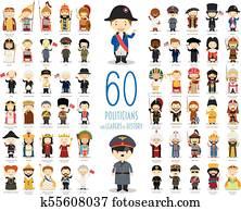 kinder, vektor, charaktere, collection:, satz, von, 60, relevant, politiker, und, leiter, von, geschichte, in, karikatur, style.