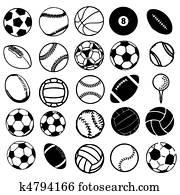 Set Ball sports icons symbols comic