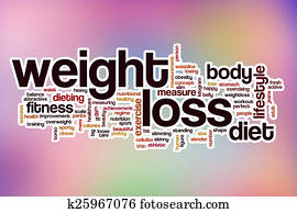 Weight loss word cloud with abstract background
