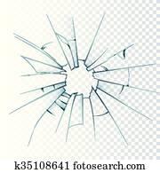 zerbrochenes, vereistes glas, realistisch, symbol