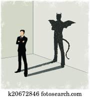 Gentleman casting shadow of evil