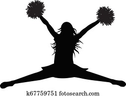 Silhouette of jumping girl with pompoms (stredl jump), cheerleading. Vector illustration.