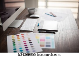 Designer's workspace with bokeh