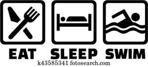 Eat sleep swim icons