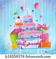 Greeting illustration cake