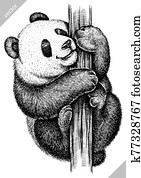 black and white engrave isolated panda vector illustration