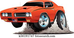 Classic American Muscle Car Cartoon Vector Illustration