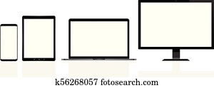 Modern computer, laptop, mobile phone and digital tablet pc
