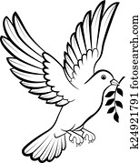 Cartoon Dove birds logo for peace c