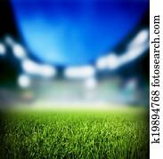 Football, soccer match. Grass close up, lights on the stadium.