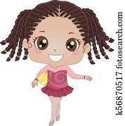 Kid Girl Gymnastics Ball Illustration