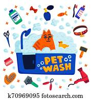 Pet grooming concept. Cat sitting in a bath with foam and goods for bathing on white background. Cat care, grooming, hygiene, health. Pet shop, accessories. Flat style vector illustration.