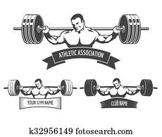 Powerlifting Athletic Logo Set