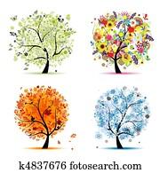 vier jahreszeiten, -, spring,, summer,, autumn,, winter., kunst, baum, sch?n, für, dein, design