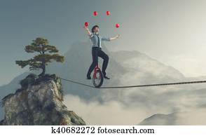 Young man as juggler