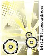 dj yellow poster background