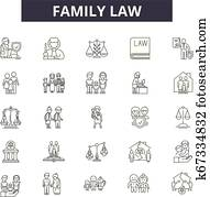 Family law line icons for web and mobile design. Editable stroke signs. Family law outline concept illustrations