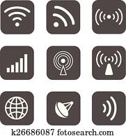 Wireless icons set white silhouettes on black