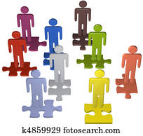 Diverse people team stand on puzzle pieces solution
