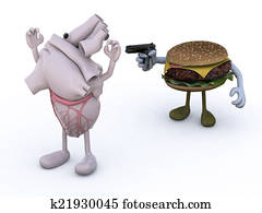 hamburger with arms wielding gun to the human heart