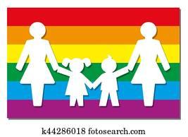 LGBT Parenting Pride Flag Icon Moms