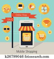 Mobile Phone Online Shop with Icons