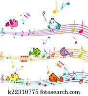 Music note with cartoon birds singing