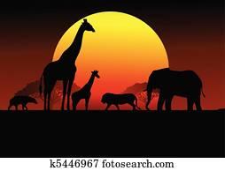 Safari africa silhouette