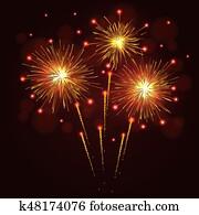 Sparkling golden yellow fireworks