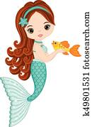 Vector Cute Little Mermaid with Fish