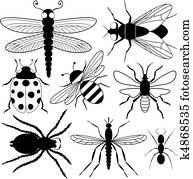 acht, insekt, silhouetten
