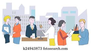 Business office and staff - meetings, conversations and cooperation