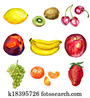 Set of watercolor fruits