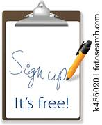 Sign up free clipboard pen website icon